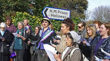 The pop-up suffragette choir Pic: Tony Gay