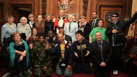 All the winners of the Mayor of Islington's Civc Awards 2014 with Councillor Barry Edwards.