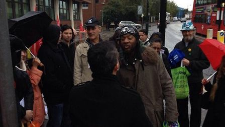 Resdeints confront Cllr Muhammed Butt outside Willesden Magistrates' Court (pic credit: Myron Jobson