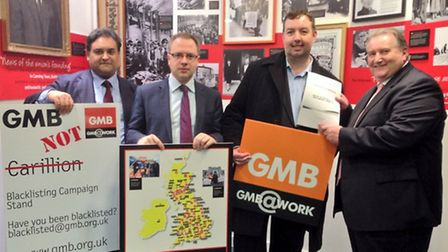 Cllr. Gallagher, Cllr. Watts, Paul Kenny, general secretary of GMB and Claude Moraes MEP stand again