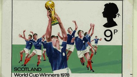A stamp commemorating Scotland's fictional 1978 World Cup triumph
