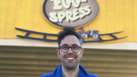 Pleasurewood Hills general manager, Ricky Lark, at the opening of Egg-spress. Picture: Victoria Pert
