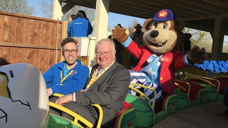 Pleasurewood Hills manager Ricky Lark with Suffolk County Councillor, Tony Goldson, and Woody the Be