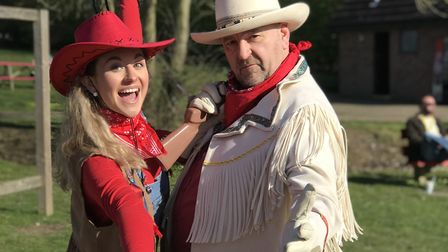 The cowgirl and cowboy were in town to entertain guests at Pleasurewood Hills. Picture: Victoria Per