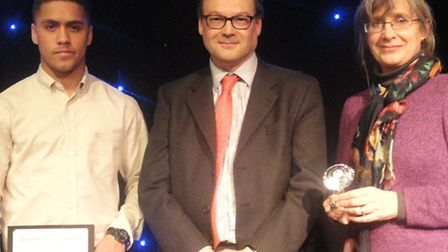 Left to right: Jacob Anderson-Street, Andy Cole CNWL Principal and Jo Thwaites from Historic Royal P