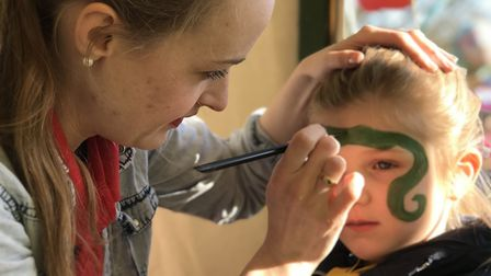 Children also able to enjoyed face painting at Pleasurewood Hills for the opening of Egg-spress. Pic