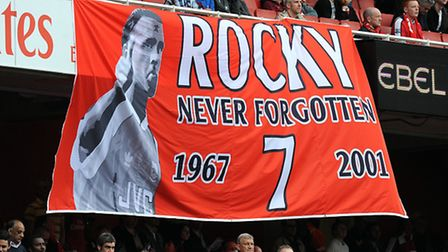 Arsenal fans pay tribute to former Arsenal footballer David Rocastle who died of non-Hodgkin's lymph