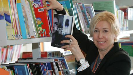 School Librarian and teen author Lesley Cheetham with her books