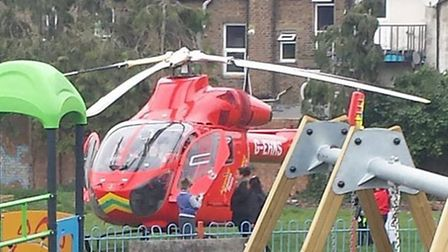 An air ambulance was called to the scene in Harlesden (pic credit: Anita Whittaker)