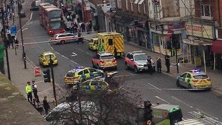Police said a 23-year-old man has been taken to an east London hospital with 'life changing injuries