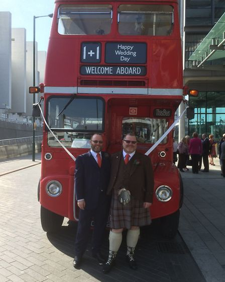 The couple were driven to their wedding reception in a Routemaster bus
