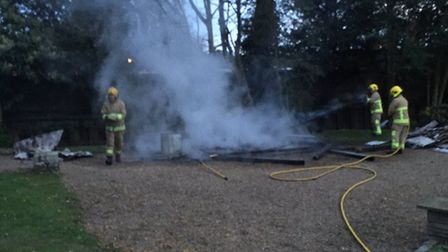 A shelter at Nicholas Everitt Park in Oulton Broad has been destroyed by fire. Picture: Neil Henders