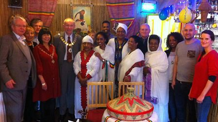 Islington Mayor Cllr Barry Edwards and restaurant owner Getenesh Gabiemichael with other guests at K
