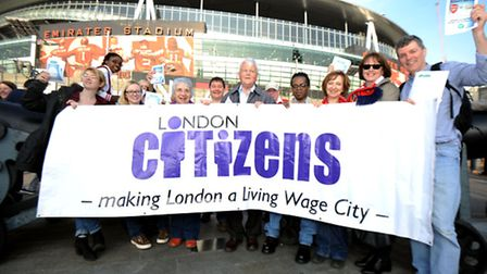 London Citizens UK protest Arsenal to ensure that agency staff are paid the living wage