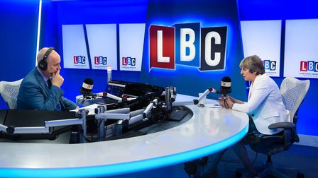 Prime Minister Theresa May takes part in a live phone-in on radio station LBC, hosted by Iain Dale.