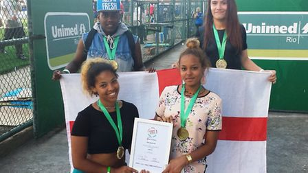 England players at the Street Child World Cup in Brazil. Back row, left to right: Sherelle Joseph, C