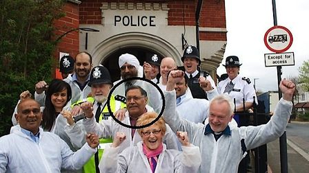 Navin Shah, circled, was locked up to raise money for St Luke's Hospice