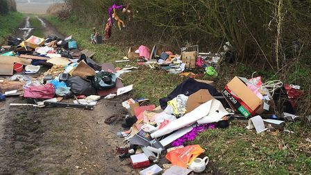 Fly-tipped waste at Woods Lane in Camps Heath dumped by Andrew Jones. PHOTO: East Suffolk Council