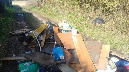 Fly-tipped waste dumped by Andrew Jones. PHOTO: East Suffolk Council