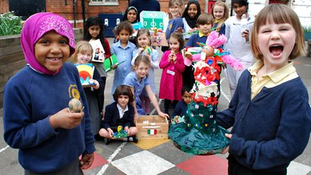 Children from Gillespie Primary School with their winning Easter Eggs 04.04.14. Pictured front left