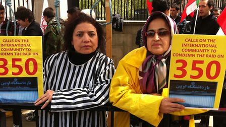 Touran Ranjivar and Marzieh Zahar at protest against executions in their native Iran