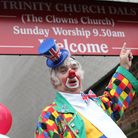 Clowns gather together to celebrate the annual church service in memory of English actor Joseph Grim