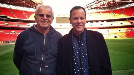 Kiefer Sutherland (left) poses with co-star William Devane at wembley stadium (pic credit: Twitter @