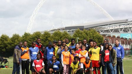 Students from Peckham took part in a football match at Copland Community School