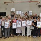 Pensioners protest about the possible closure of Sotheby Mews Day Centre