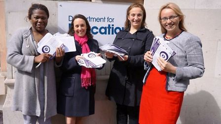 Shay Thripp, Naomi Landau, Cristina Bruno and Clare Craig submitting their petitions to the DfE.