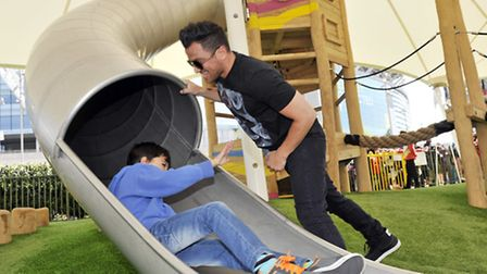 Peter Andre with son Junior at LDO (pic credit: Adrian Brooks/Imagewise)