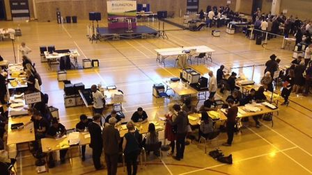 Counting begins at the Sobell Leisure Centre in Hornsey Road, Holloway