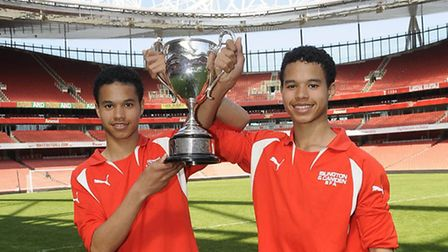 Twins Kai and Kane Knight with the Gazette Schools Cup 2013