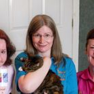 L to R: Margot Stewart, Anne Dack with Comfy the cat and April Ritchie.