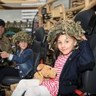 Nikola James, left, and sister Zoe at the Army barracks open evening