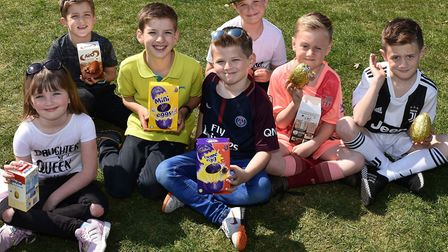 Some of the delighted children at the popular Easter Egg Trail in Sparrows Nest Gardens in Lowestoft