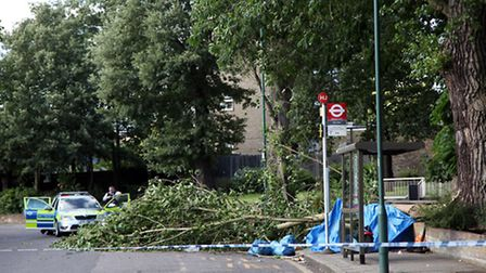 The scene in Donnington Road yesterday