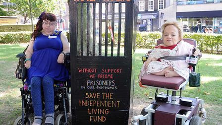 Pictured from left are disabled campaigners Penny Pepper and Sophie Partridge. Pic: Dieter Perry