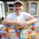 Resident Kevin Hope pictured by his pocket sized portraits