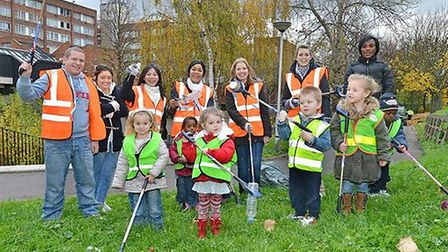 A group of enthusiastic volunteers get ready to clean up Islington's streets