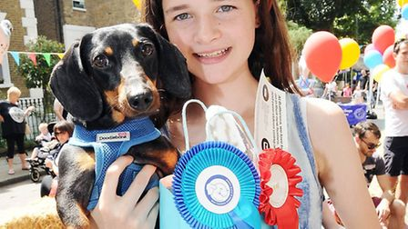 Alice and her dog Bingo, who were first prize winners