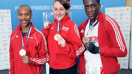 Left to right: Troy Smart, Charlotte Briant and Sherif Musah with their gold medals