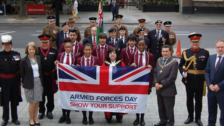 The flag-raising ceremony at Islington Town Hall - Front (L-R) Peter McCafferty, Pageant Master; Isl