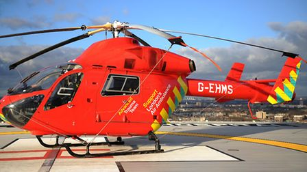 The cyclist was rushed to hospital in an air ambulance