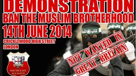 Right wing group South East Alliance will march in Cricklewood this Saturday (pic: Facebook)