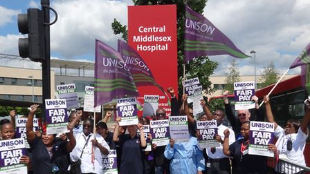Healthcare professionls protest outside Central Middlesex Hospital over pay