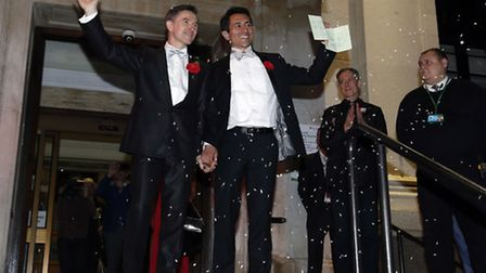 Islington couple Peter McGraith and David Cabreza (right), the first gay couple to marry at Islingto