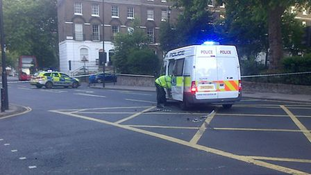 The police van at the scene following the collision near Canonbury Square (Picture: Sam Blewett)
