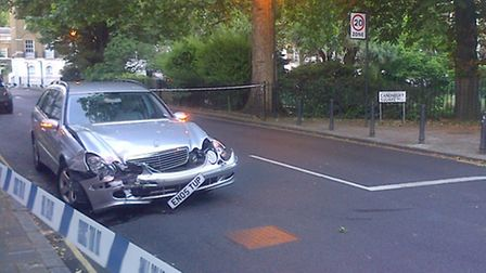 The damaged Mercedes involved in the crash (Picture: Sam Blewett)