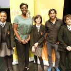 Islington Arts and Media School head, with pupils and the renowned director. L-R: Kimberly Shaw, Hea